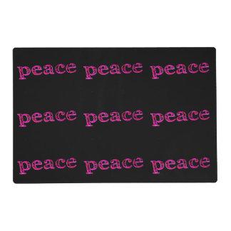 paz rosada en negro tapete individual