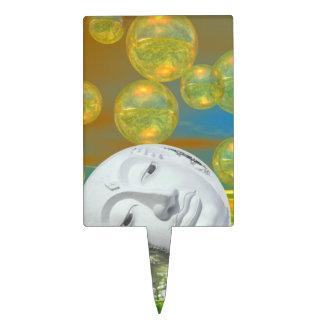 Paz - serenidad de oro y esmeralda abstracta figura para tarta