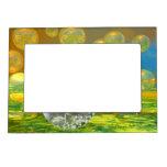 Paz - serenidad de oro y esmeralda abstracta marcos magneticos de fotos
