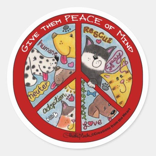 Paz Símbolo-Humana Pegatina Redonda