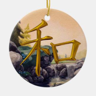 Paz - símbolo japonés - SRF Adorno Redondo De Cerámica