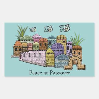 Paz sobre Jerusalén Pegatina Rectangular