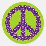 Paz sonriente adaptable pegatinas redondas