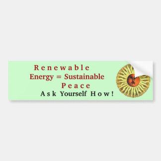 paz sostenible de la energía renovable etiqueta de parachoque