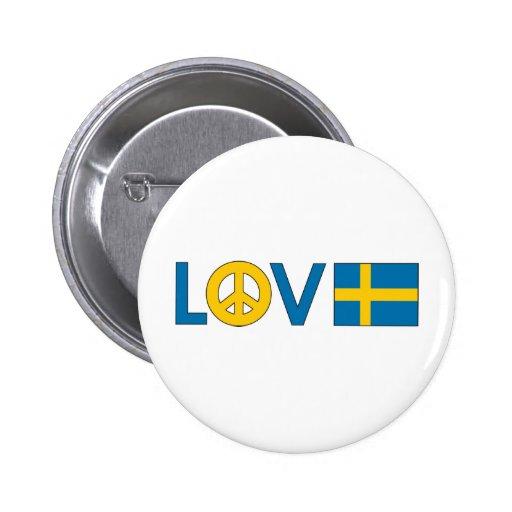 Paz Suecia del amor Pin Redondo De 2 Pulgadas