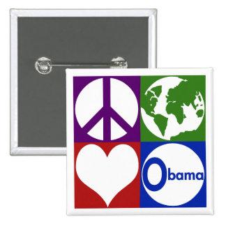 Paz, tierra, amor, Obama (botón de la campaña) Pin