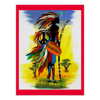 Paz tribal en rojo posters