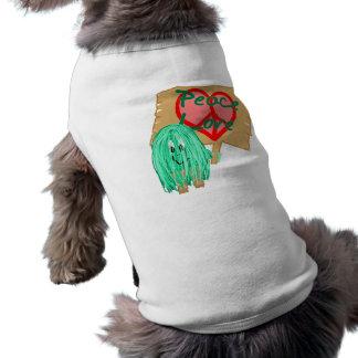Paz un amor - signo de la paz en forma de corazón playera sin mangas para perro