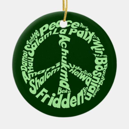 Paz verde adorno redondo de cerámica