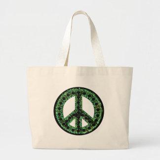 Paz verde bolsa tela grande