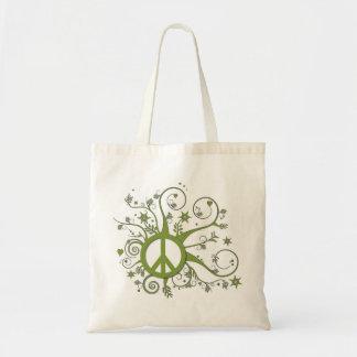 Paz verde de Swirly Bolsa Tela Barata