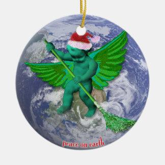Paz verde del ángel en el ornamento del árbol de ornamento para arbol de navidad