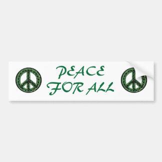 paz verde para toda la pegatina para el parachoque etiqueta de parachoque