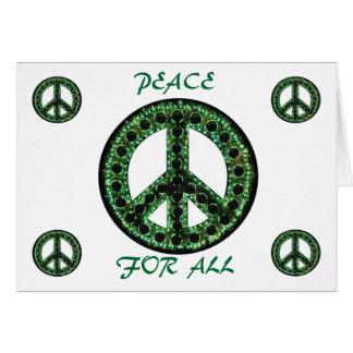 paz verde para toda la tarjeta de felicitación