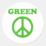 Paz verde pegatina redonda