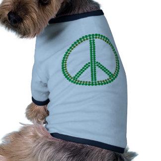 Paz verde camisa de mascota