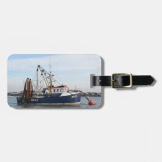 Paz y abundancia del barco de pesca etiqueta para maleta