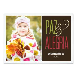 Paz y Alegría de vacaciones tarjetas con fotografí Card
