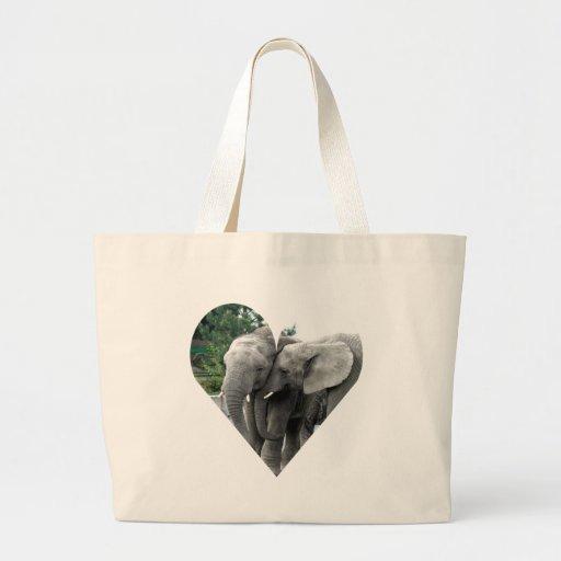 Paz y alegría del beso del amor del elefante bolsas