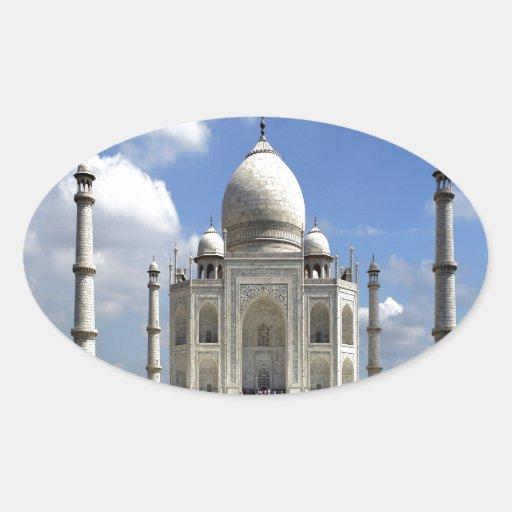 Paz y alegría del Taj Mahal Agra la India Calcomanías De Ovales Personalizadas