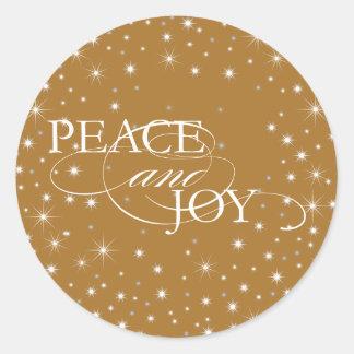 Paz y alegría - estrellas - pegatina, sello pegatina redonda