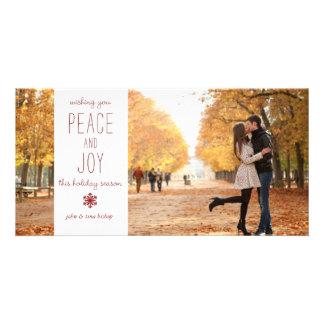 Paz y alegría - tarjeta de la foto de familia tarjeta personal con foto