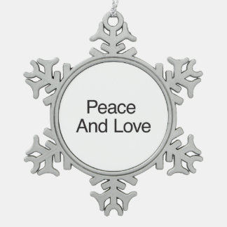Paz y amor adorno de peltre en forma de copo de nieve