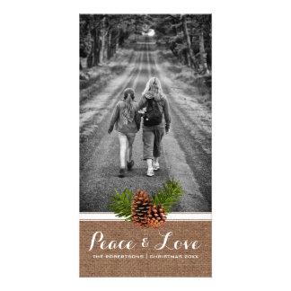 Paz y amor - arpillera Pinecones de la foto del Tarjeta Personal Con Foto