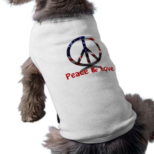 Paz y amor camiseta de perro