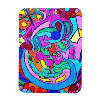 paz y amor coloridos del hippie rectangle magnet