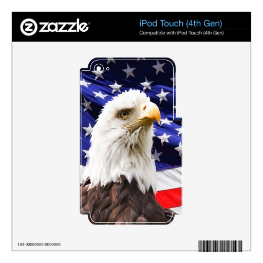 paz y amor de la bandera de los E.E.U.U. del águil Skins Para iPod Touch 4G