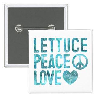 Paz y amor de la lechuga pin cuadrado