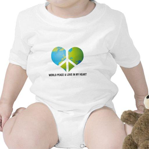 Paz y amor de mundo en mi corazón traje de bebé