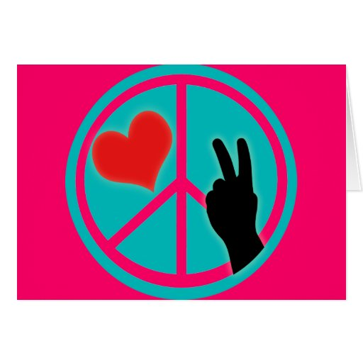 Paz y amor del signo de la paz felicitaciones