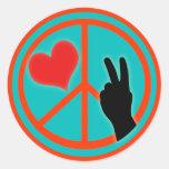 Paz y amor del signo de la paz pegatina redonda