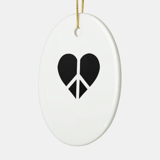 Paz y amor en un corazón adorno ovalado de cerámica
