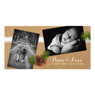 Paz y amor - fotos Pinecones de papel del navidad Tarjeta Con Foto Personalizada