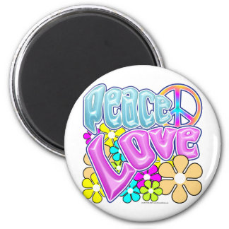 Paz y amor imán redondo 5 cm