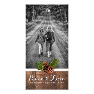 Paz y amor - madera Pinecones de la foto del Tarjetas Fotograficas