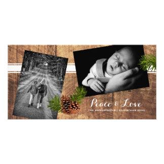 Paz y amor - madera Pinecones de las fotos del Tarjeta Personal
