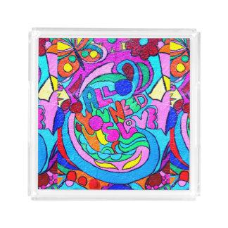 paz y amor maravillosos coloridos bandeja cuadrada