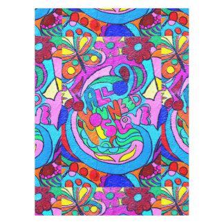 paz y amor maravillosos coloridos mantel