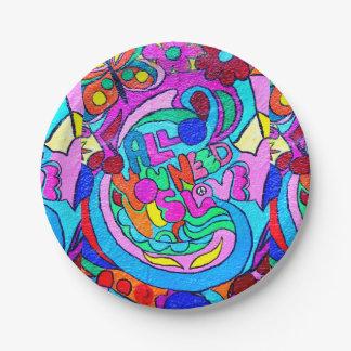 paz y amor maravillosos coloridos plato de papel de 7 pulgadas