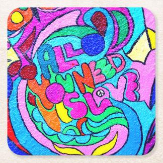 paz y amor maravillosos coloridos posavasos de cartón cuadrado