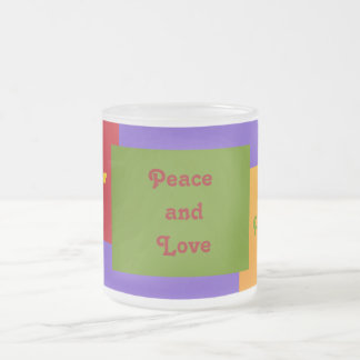 Paz y Amor Peace and Love 10 Oz Frosted Glass Coffee Mug