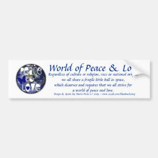 Paz y amor - pegatina para el parachoques pegatina para auto