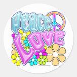 Paz y amor pegatinas redondas