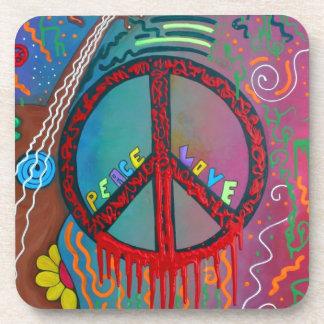 Paz y amor posavasos de bebida