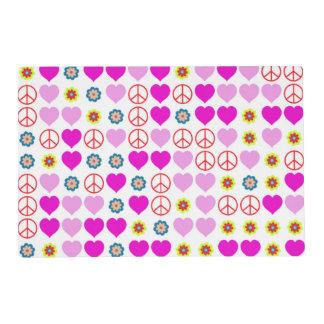 paz y amor, rosados tapete individual