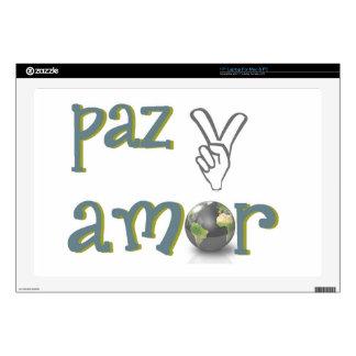 paz y amor laptop skins